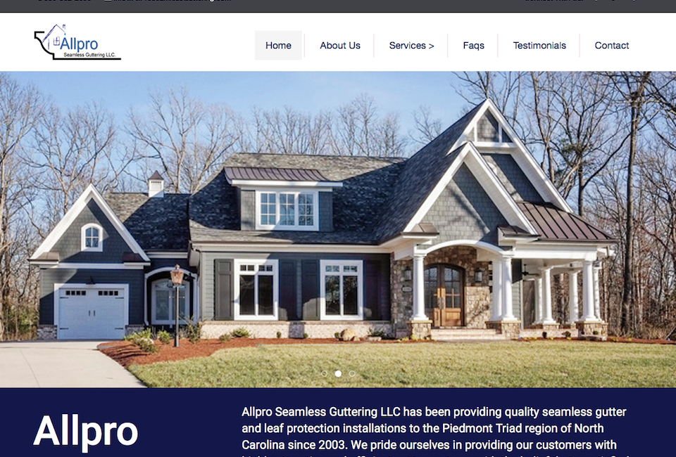 gutter company in Greensboro website
